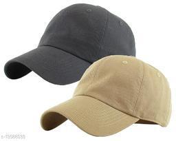 Trendy Men's Combo Darkgrey & Khaki Cotton Cotton Caps
