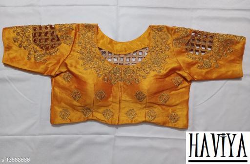 Women's Phantom Silk Yellow Embroidered Unstitch Blouse