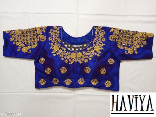 Women's Phantom Silk Royal Blue Embroidered Unstitch Blouse