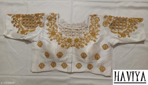 Women's Phantom Silk White Embroidered Unstitch Blouse