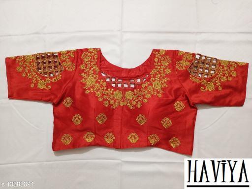 Women's Phantom Silk Red Embroidered Unstitch Blouse