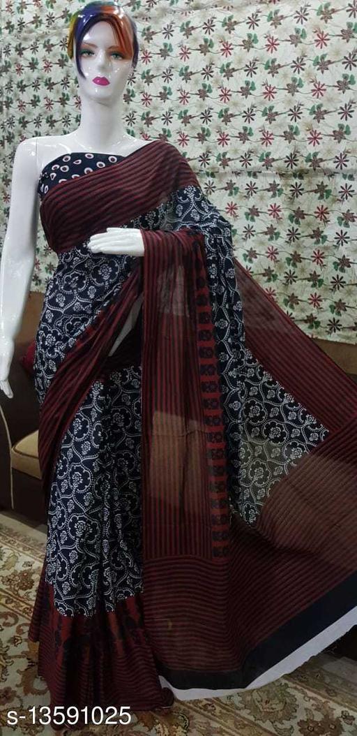 Mehta Beatiful Women's Cotton Mulmul Hand Printed Saree with Blouse Piece