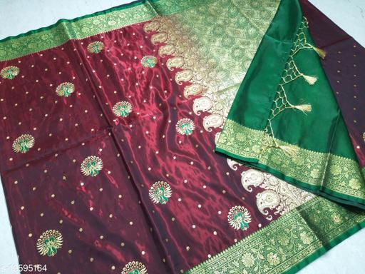 Trendy Satin Silk Embroidery & Stone Work Saree