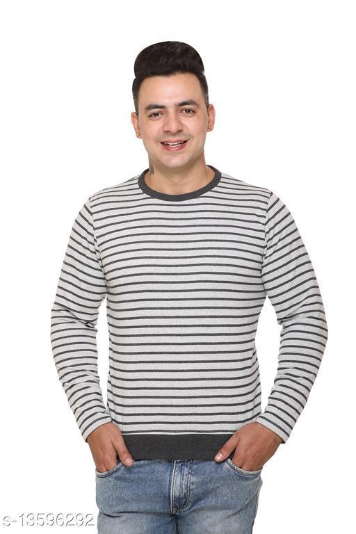 TOPLUCK Men's Navy Full Sleeves Striper Round Neck Sweatshirt