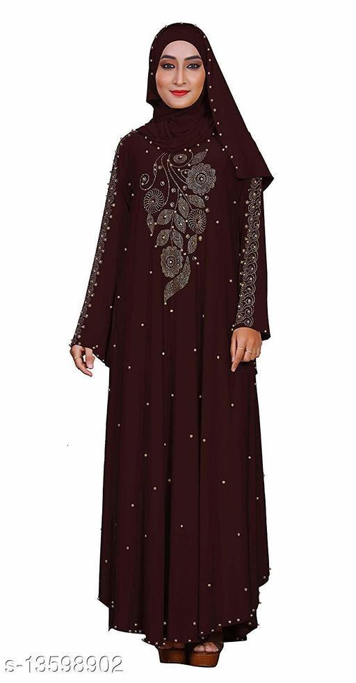 Women's Stylish Lycra Fabric Beads and Stone work Abaya Burkha with Hijab.