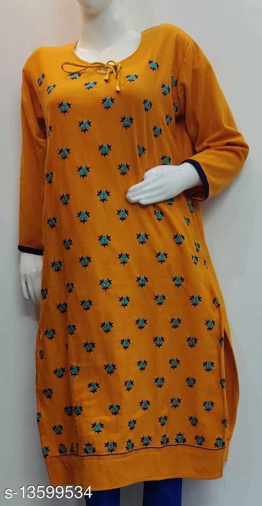 Women Wool Straight Embroidered Yellow Kurti