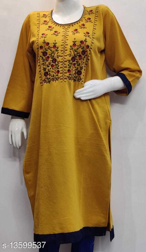 Women Wool A-line Embroidered Yellow Kurti