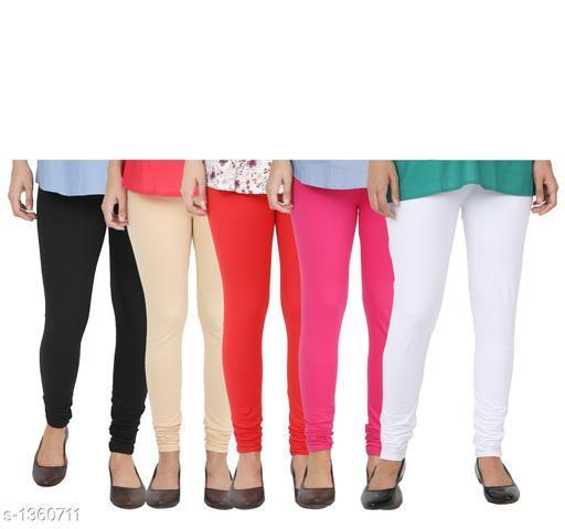 Trendy Cotton Leggings  ( Set Of 5)