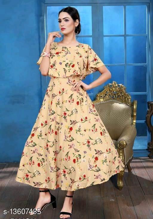 Zanies Printed Beige Colour Crepe Dress