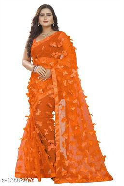 Butterfly Orange Netsaree New Design of good quality butterfly