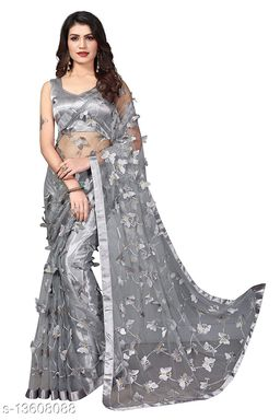 ButterFly Grey Net saree with Unstitched Blouse Piece