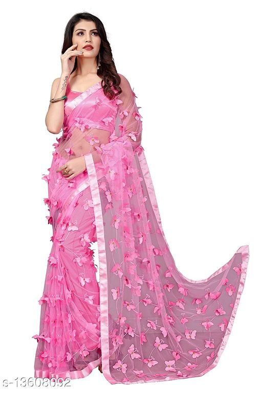ButterFly Pink Net saree with Unstitched Blouse Piece