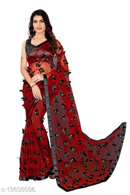 ButterFly Contrast Red-blackNet saree with Unstitched Blouse Piece