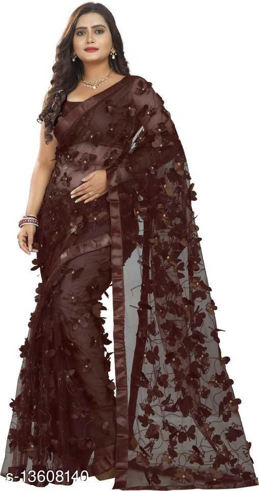 Butterfly Brown Netsaree New Design of good quality butterfly