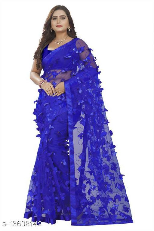Butterfly RoyalBlue Netsaree New Design of good quality butterfly