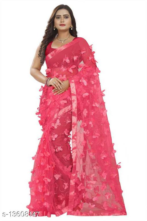 Butterfly Tomato color Netsaree New Design of good quality butterfly