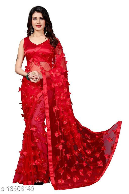 ButterFly Red Net saree with Unstitched Blouse Piece