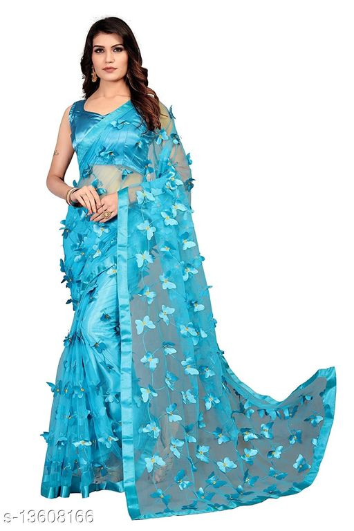 ButterFly Net saree with Unstitched Blouse Piece