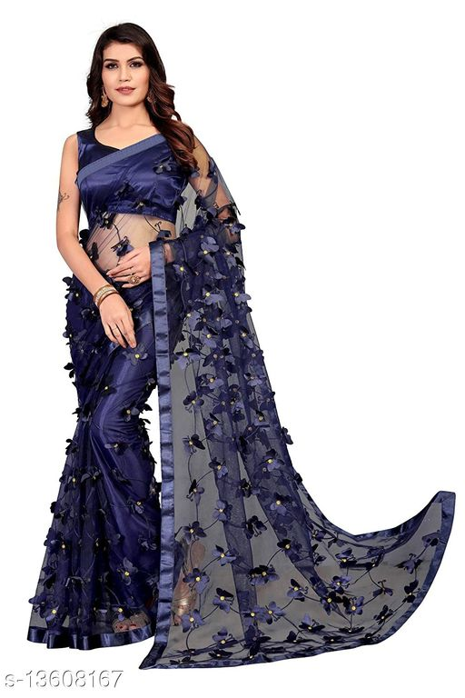 ButterFly Navy-Blue Net saree with Unstitched Blouse Piece