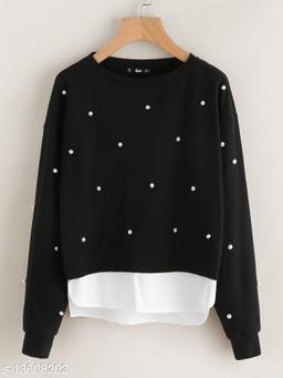 Fabrange Pearl Black Casual Sweatshirt