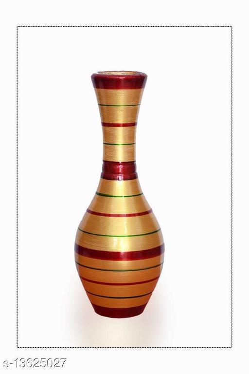 Blossom Flower Pot Home Decorative Flower Pot (Wooden) LXHXW- 30X13X13 cm-(Golden)