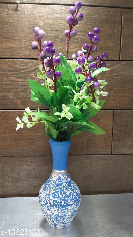 OVAL BLUE WOODEN FLOWER POT
