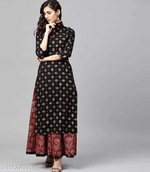 Black kurta Maroon skirt HN