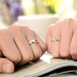 Silver Plated Solitaire Adjustable Couple ring  for Men and Women Couple ring for Girls and Boys-2 pieces