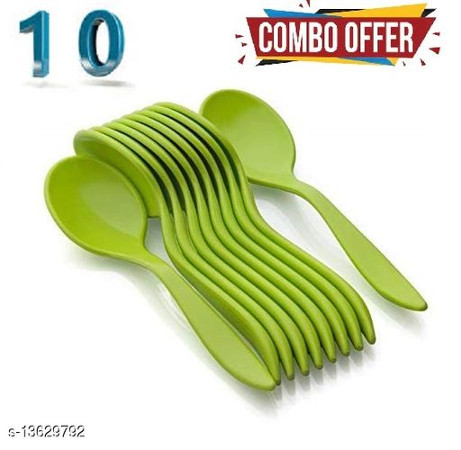 Fancy Spoons Set of 10 Units, Plastic Spoons, Colourful Spoons-multicolor