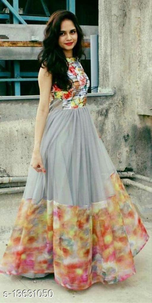 Organza Short Sleeve Digital Printed Organza & satin Maxi Gown