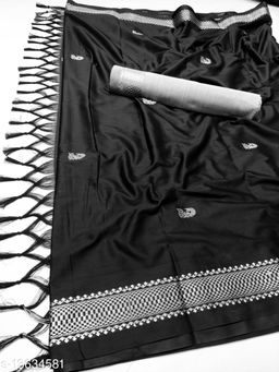 MH Traditional Paithani Silk Sarees With Contrast Blouse Piece (3D Black & Silver)