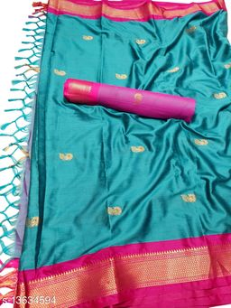 MH Traditional Paithani Silk Sarees With Contrast Blouse Piece (Cyan & Pink)
