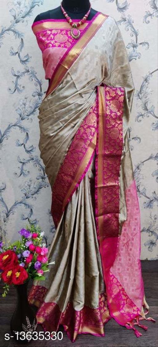 Shree silk Grey and Pink Attractive Cotton Silk Saree