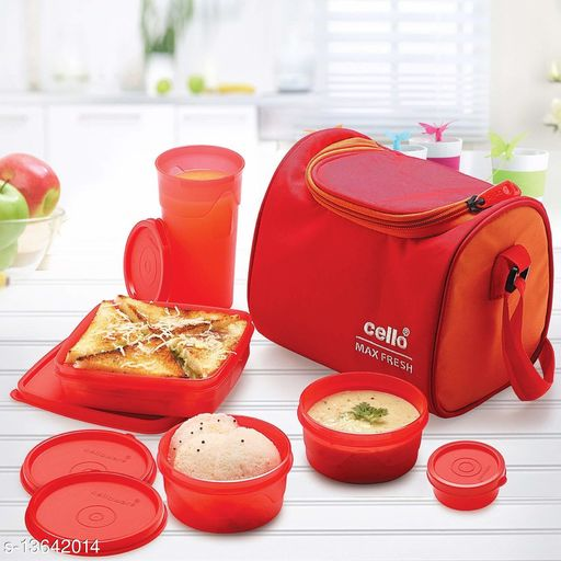 Cello Max Fresh Sling 5 Container Lunch Box With Bag, Red