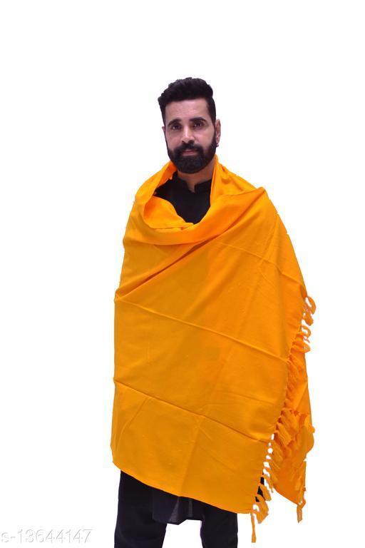 Men's Woven Wool Blend Plain Yellow Shawl/Lohi