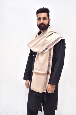 Men's Woven Wool Blend Jacquard Border Shawl/Lohi 45x90