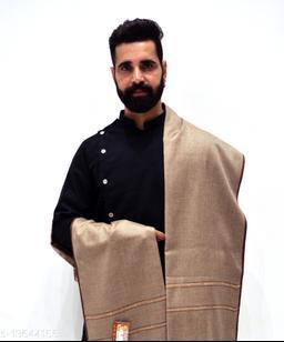 Men's Woven Wool Blend Border Shawl/Lohi 50x100
