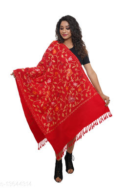 Women Kashmiri Embroidered Over all jaal, Designer Stole