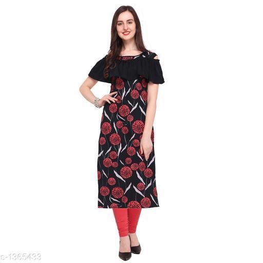 Women's Printed Black Crepe Kurti