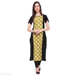 Women Crepe Panelled Printed Yellow Kurti