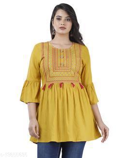 Women Rayon Straight Embroidered Yellow Kurti
