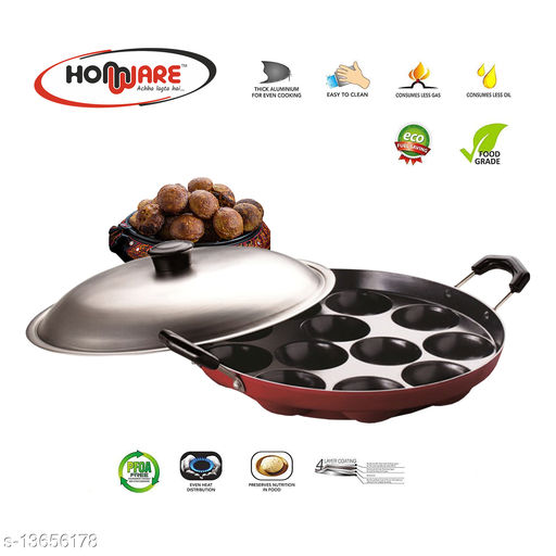 Homware Appam maker patra 12 cavities 22 cm Red with lid