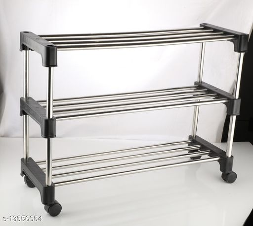 3 TIER iron & lastic INSTALLATION FREE FOLDABLE/FOLDING SHOE/black SHOES RACK/STAND FOR HOME,OFFICE,school pack of 2