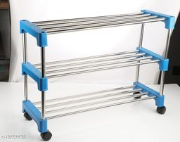 3 TIER iron & lastic INSTALLATION FREE FOLDABLE/FOLDING SHOE/blue SHOES RACK/STAND FOR HOME,OFFICE,school pack of 2