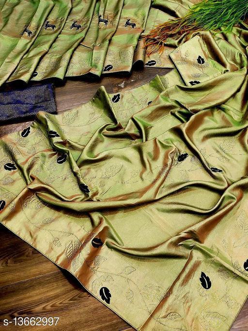 Riva enterprise Women's crackle Two ton with Swarovski dimond work and velvet leaf party Wear Saree