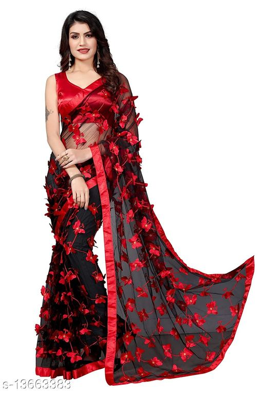 ButterFly Black Net saree with Unstitched Blouse Piece