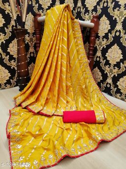 Fancy Wark Saree With Blouse