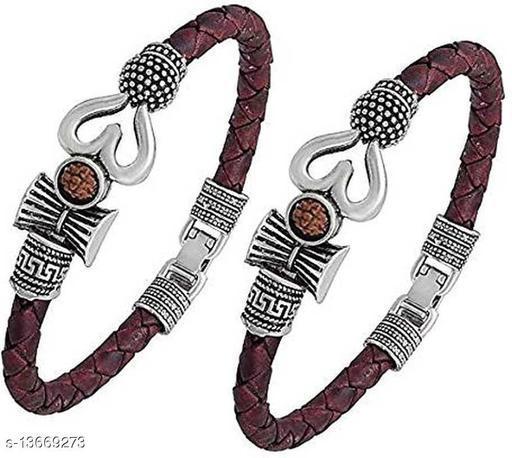 Moksh Spiritual damru trishul om Rudraksh Beads silver Plated Brown rope style Leather kada bracelete fro mens/womens and unisex pack of 2