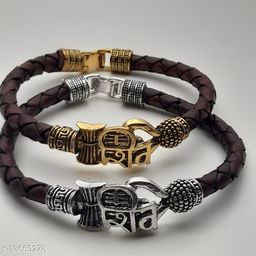 Moksh Spiritual Shiv Rudraksh Beads gold and Silver Plated BLack rope style Leather kada bracelete fro mens/womens and unisex pack of 2
