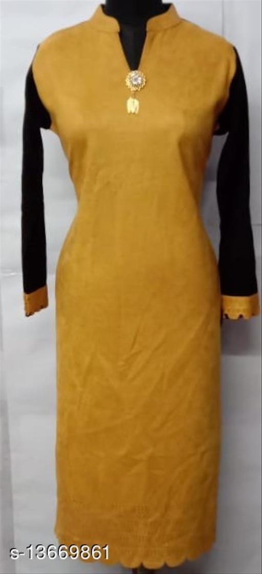 Women Velvet Straight Solid Yellow Kurti